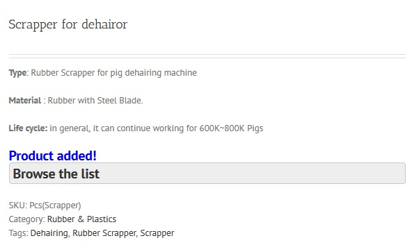 Product Added to Quote List