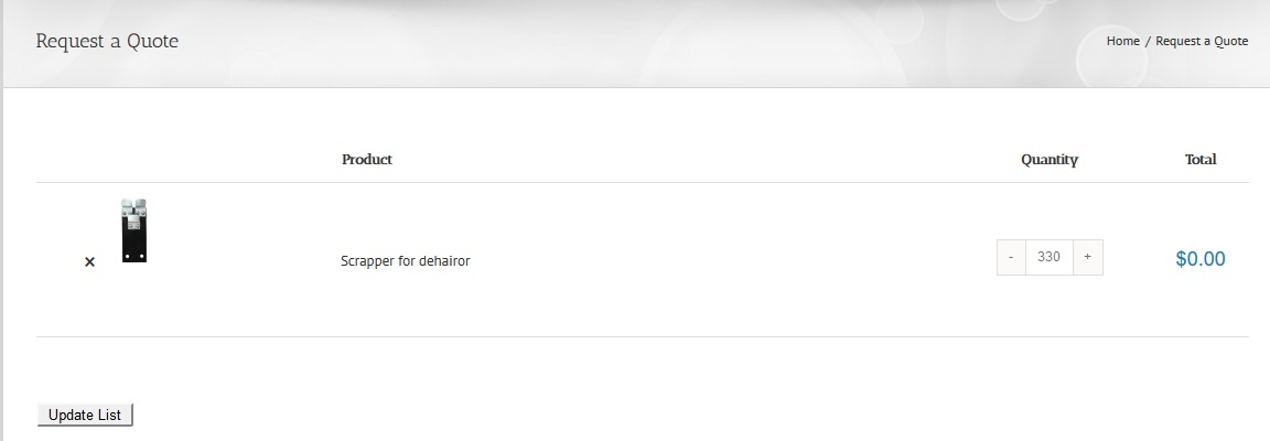 Update Product List